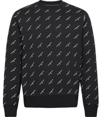 aop monogram crew neck sweat-shirt trui zwart calvin klein jeans