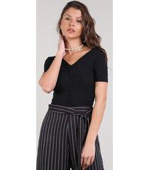 blusa feminina cropped canelada manga curta decote v preto