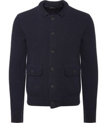 hackett london navy merino wool waffle knit cardigan 701880-595