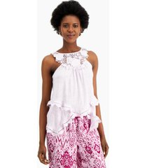 inc international concepts crochet-trim top, created for macy's