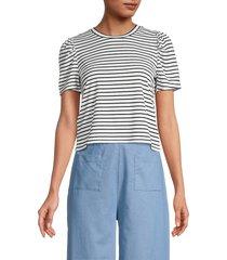 bcbgeneration women's striped puff-sleeve t-shirt - black white - size m