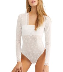 women's free people intimately fp babes 'n bandeaus long sleeve thong bodysuit