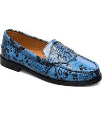 moccasin loafers låga skor blå ganni