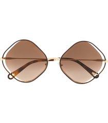 chloé eyewear poppy diamond-frame sunglasses - brown