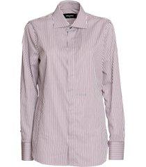 dsquared 2 cotton stripe dean shirt in bordeaux