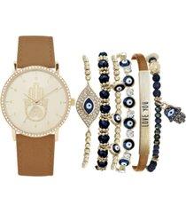 jessica carlyle women's cognac polyurethane strap watch 36mm gift set