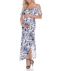 white mark women's maternity cold shoulder tie-dye maxi dress
