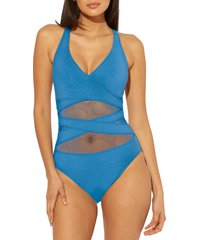 women's bleu by rod beattie don't mesh with me one-piece swimsuit, size 14 - blue