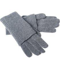 portolano women's ribbed cashmere gloves - dark grey