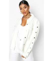 button sleeve boyfriend jean jacket, off white