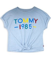 tommy hilfiger big girl's 1985 flip sequin tie-front tee
