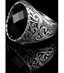 anillo de tótem tallado exquisito con gema grande retro estilo punk para hombre