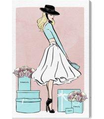 "oliver gal floral shopper blush canvas art - 15"" x 10"" x 1.5"""