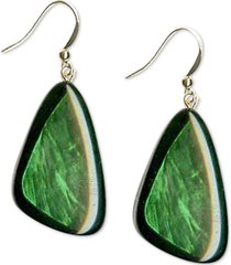style & co gold-tone green resin shell drop earrings, created for macy's