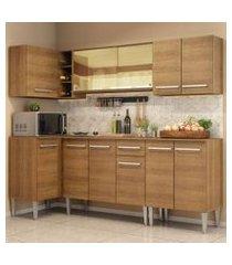 cozinha completa de canto madesa emilly play com balcão e armário vidro reflex rustic