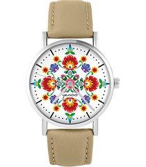 zegarek - folkowa mandala - skórzany, beżowy