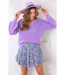 gebreide trui met v-hals lila
