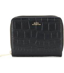 a.p.c. emmanuelle zipped wallet - black