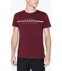 tommy hilfiger corp split tee t-shirts & linnen rouge