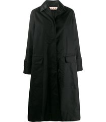 marni spread collar coat - black