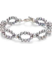 belpearl women's sterling silver & 4-6mm cultured pearls bracelet