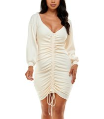 bebe off-the-shoulder ruched bodycon dress