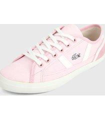 tenis rosa-blanco lacoste sideline canvas