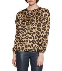walter baker women's leopard-print tie-front top - leopard - size s