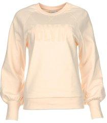 sweater met ballonmouwen love me  lichtroze