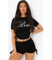 geplooide bride pyjama set met shorts en zijstrikjes, black