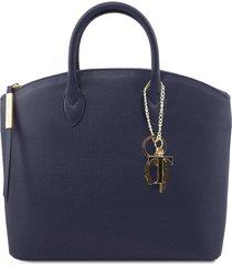 tuscany leather tl141261 tl keyluck - borsa shopper in pelle saffiano blu scuro