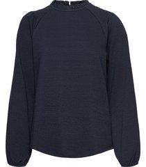 pzamra blouse blus långärmad blå pulz jeans