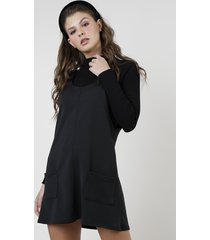 salopete feminina com argola e bolsos preto