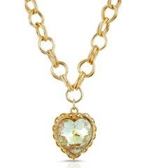 2028 swarovski crystal aurora borealis heart pendant necklace