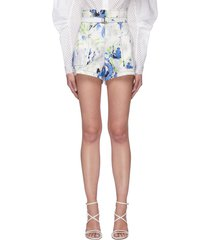 floral print belted high rise cotton shorts