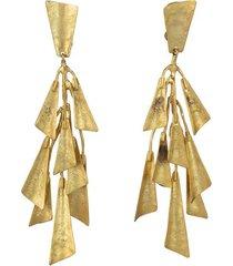 natori goldplatedss fringe clip earrings, women's