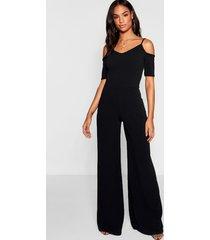 tall cold shoulder culotte jumpsuit, black