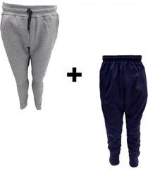 conjunto mezgo pantalón gris + chupín azul frizado