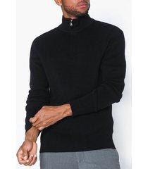 selected homme slhbate milano zip neck b tröjor svart