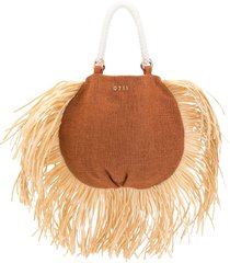 0711 ani raffia tote bag - brown