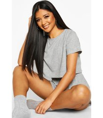 soft tee and short pyjama set, grey