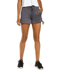 blanc noir lace-up shorts, size medium in charcoal at nordstrom