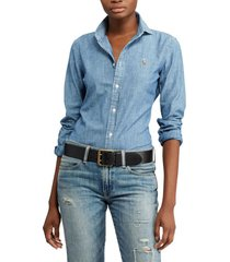 blusa slim fit chambray celeste polo ralph lauren