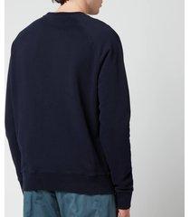 maison kitsuné men's tricolour fox patch clean sweatshirt - navy - xxl