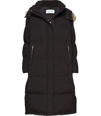 modern down long coa gevoerde lange jas zwart calvin klein