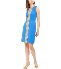 pappagallo brooke lace-trim sheath dress