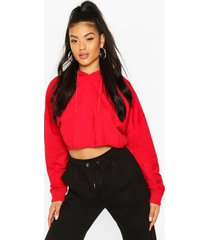 basic cropped hoodie, red