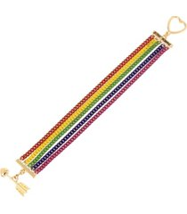 betsey johnson rainbow multi chain bracelet