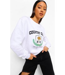 country club sweater met tekst, white