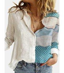 camicetta con bottoni a maniche lunghe con colletto a risvolto stampato patchwork